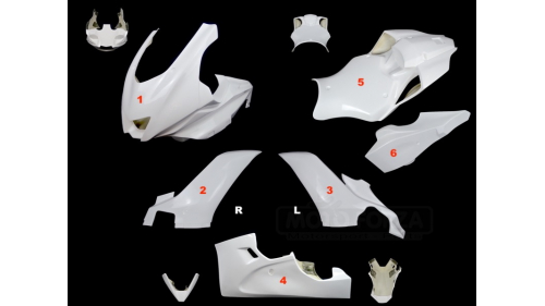 Full poly racing fairing 6 parts R6 fiberglass 2017-2020