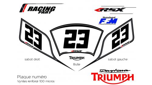 Plaque numéro Triumph 675 Daytona