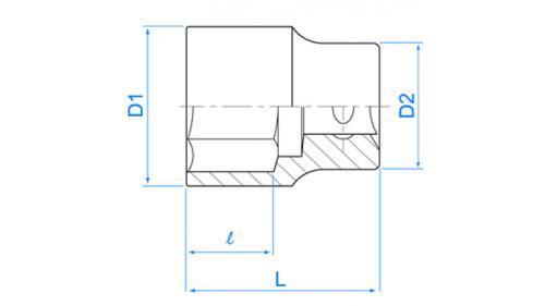 """Douille 1/2"""" - 38 mm - L 50 mm"""